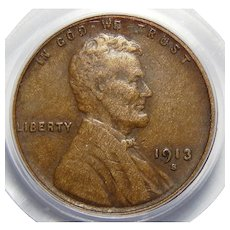 1913-S Pcgs XF40 Lincoln Wheat Cent