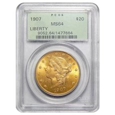 1907 Pcgs MS64 $20 Liberty Head Gold