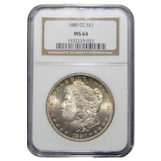 1880-CC Ngc MS64 Morgan Dollar