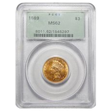 1889 Pcgs MS62 $3 Gold