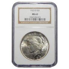 1923-D Ngc MS63 Morgan Dollar