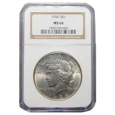 1934 Ngc MS64 Morgan Dollar