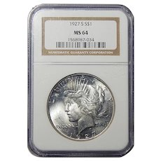 1927-S Ngc MS64 Peace Dollar
