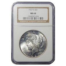 1927-S Ngc MS64 Peace Dollar