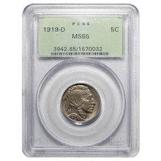 1919-D Pcgs MS65 Buffalo Nickel