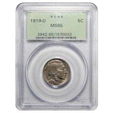 1919-D Pcgs MS65 Buffalo Nickel