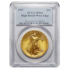 1907 Pcgs MS64 $20 High Relief-Wire Edge St Gaudens
