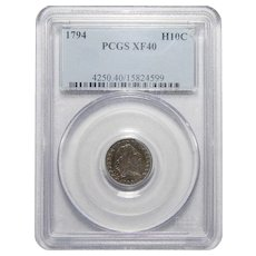 1794 Pcgs XF40 Flowing Hair Half Dime
