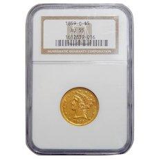 1859-C Ngc AU55 $5 Liberty Head Gold