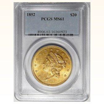 1852 Pcgs MS61 $20 Liberty Head Gold