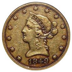 1849 Ngc XF40 $10 Liberty Head Gold