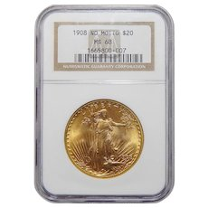 1908 Ngc MS68 $20 No Motto St. Gaudens