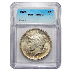 1921 Icg MS62 High Relief Peace Dollar