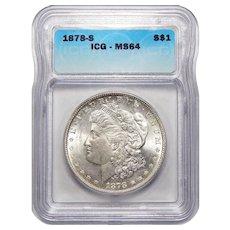 1878-S Icg MS64 Morgan Dollar