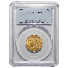 1909 Pcgs MS64 $5 Indian Gold