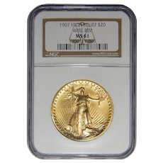 1907 Ngc MS61 $20 High Relief-Wire Edge St. Gaudens Gold