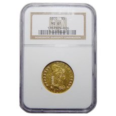 1800 Ngc MS61 $5 Draped Bust Gold