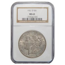 1921-D Ngc MS63 Morgan Dollar