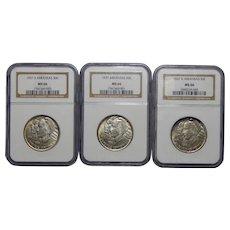 Complete Set of 1937 P+D+S Ngc MS66 Arkansas Half Dollars