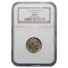 1937-D 3-Legs Ngc MS61 Buffalo Nickel