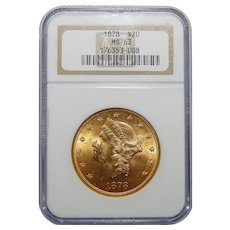 1878 Ngc MS63 $20 Liberty Head Gold