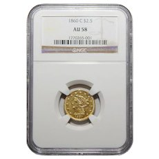 1860-C Ngc AU58 $2.50 Liberty Head Gold