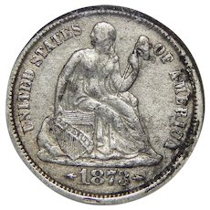 1873-CC Ngc VF20 Arrows Liberty Seated Dime