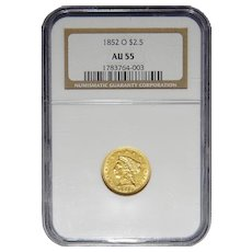 1852-O Ngc AU55 $2.50 Liberty Head Gold