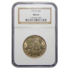 1912-S Ngc MS65 Barber Half Dollar