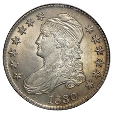 1830 Ngc AU58 Small 0 Capped Bust Half Dollar