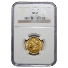 1837 Ngc MS60 $5 Classic Head Gold