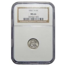 1856 Ngc MS66 Seated Liberty Half Dime