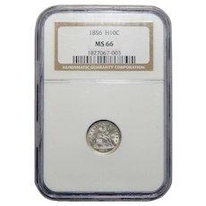 1856 Ngc MS66 Seated Liberty Half Dime