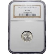 1875-CC Ngc MS65 Mintmark Below Seated Liberty Dime