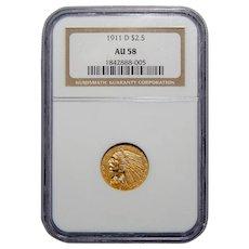 1911-D Ngc AU58 $2.50 Weak D Indian Gold