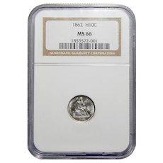 1862 Ngc MS66 Seated Liberty Half Dime