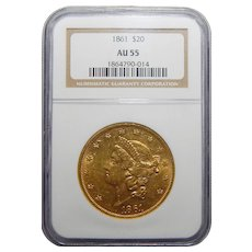 1861 Ngc AU55 $20 Liberty Head Gold