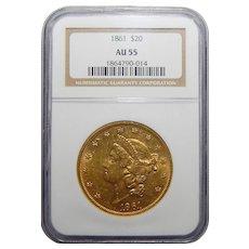1861 Ngc AU55 $20 Liberty Head Gold