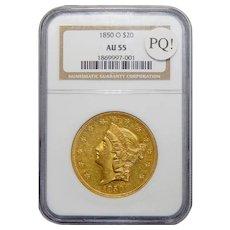 1850-O Ngc AU55 PQ! $20 Liberty Head Gold