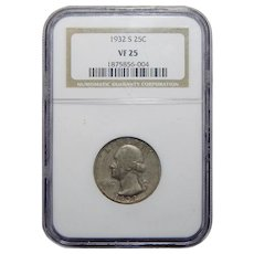 1932-S Ngc VF25 Washington Quarter