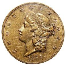 1858-S Ngc AU55 $20 Liberty Head Gold