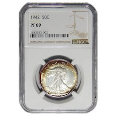 1942 Ngc PF69 Walking Liberty Half Dollar