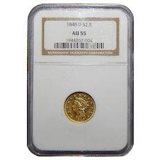 1848-D Ngc AU55 $2.50 Liberty Head Gold