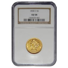 1858-C Ngc AU58 $5 Liberty Head Gold