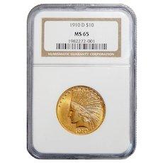 1910-D Ngc MS65 $10 Indian Gold