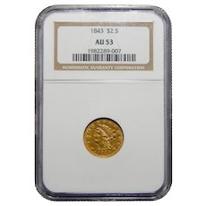 1843 Ngc AU53 $2.50 Liberty Head Gold