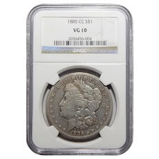 1885-CC Ngc VG10 Morgan Dollar
