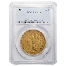 1861 Pcgs XF40 $20 Liberty Head Gold