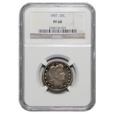 1907 Ngc PF68 Barber Quarter