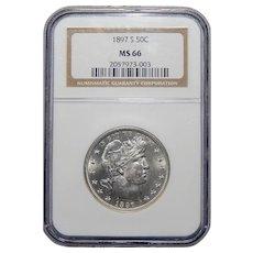 1897-S Ngc MS66 Barber Half Dollar